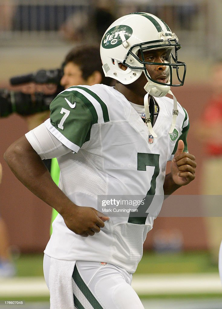 Geno Smith #7 of the New York Jets looks on during the game against the Detroit Lions at Ford Field on August 9, 2013 in Detroit, Michigan. The Lions defeated the Jets 26-17.