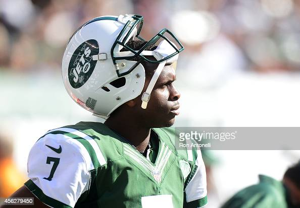 Geno Smith of the New York Jets reacts in the fourth quarter of their 24 to 17 loss to the Detroit Lions at MetLife Stadium on September 28 2014 in...