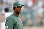 Geno Smith of the New York Jets stands on the sidelines during the game against the Cleveland Browns at MetLife Stadium on September 13 2015 in East...