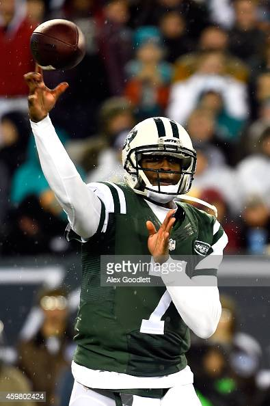 Geno Smith of the New York Jets throws a pass in the first quarter against the Miami Dolphins during their game at MetLife Stadium on December 1 2014...