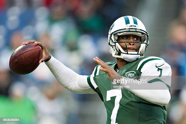 Geno Smith of the New York Jets throws a pass in the second quarter of a game against the Tennessee Titans at LP Field on December 14 2014 in...