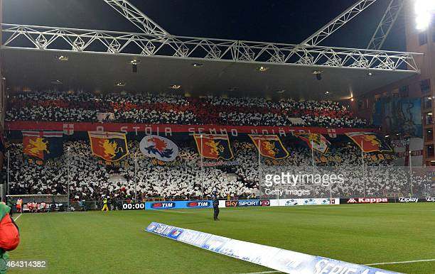 Genoa CFC fans are seen ahead of the Serie A match between UC Sampdoria and Genoa CFC at Stadio Luigi Ferraris on February 24 2015 in Genoa Italy
