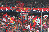 Genoa CFC fans show their support before the Serie A match between Genoa CFC and Parma FC at Stadio Luigi Ferraris on April 15 2015 in Genoa Italy