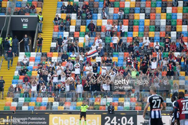Genoa CFC fans show their support during the Serie A match between Udinese Calcio and Genoa CFC at Stadio Friuli on April 9 2017 in Udine Italy