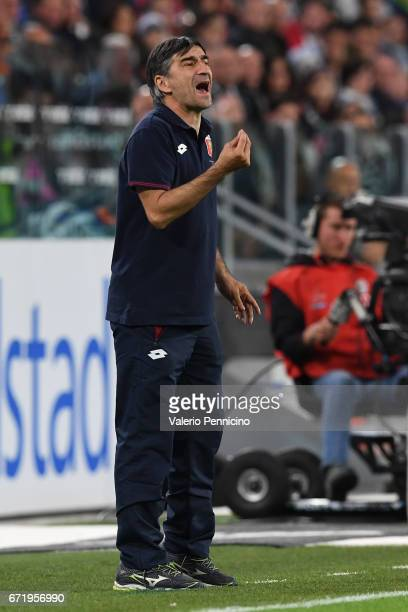 Genoa CFC head coach Gian Ivan Juric reacts during the Serie A match between Juventus FC and Genoa CFC at Juventus Stadium on April 23 2017 in Turin...