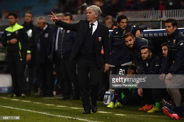 Genoa CFC head coach Gian Piero Gasperini issues instructions during the Serie A match between Genoa CFC and Carpi FC at Stadio Luigi Ferraris on...