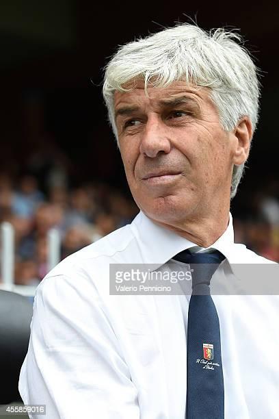Genoa CFC head coach Gian Piero Gasperini looks on prior to the Serie A match between Genoa CFC and SS Lazio at Stadio Luigi Ferraris di Genoa on...