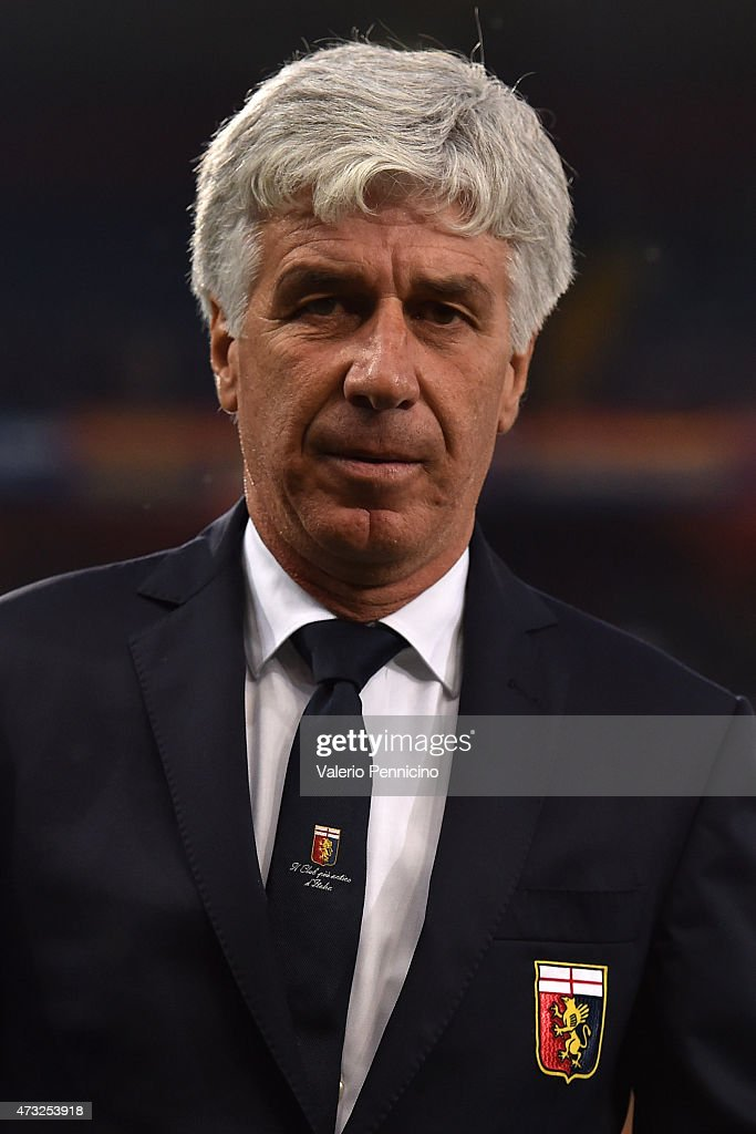 Genoa CFC head coach <a gi-track='captionPersonalityLinkClicked' href=/galleries/search?phrase=Gian+Piero+Gasperini&family=editorial&specificpeople=4667555 ng-click='$event.stopPropagation()'>Gian Piero Gasperini</a> looks on prior to the Serie A match between Genoa CFC and Torino FC at Stadio Luigi Ferraris on May 11, 2015 in Genoa, Italy.
