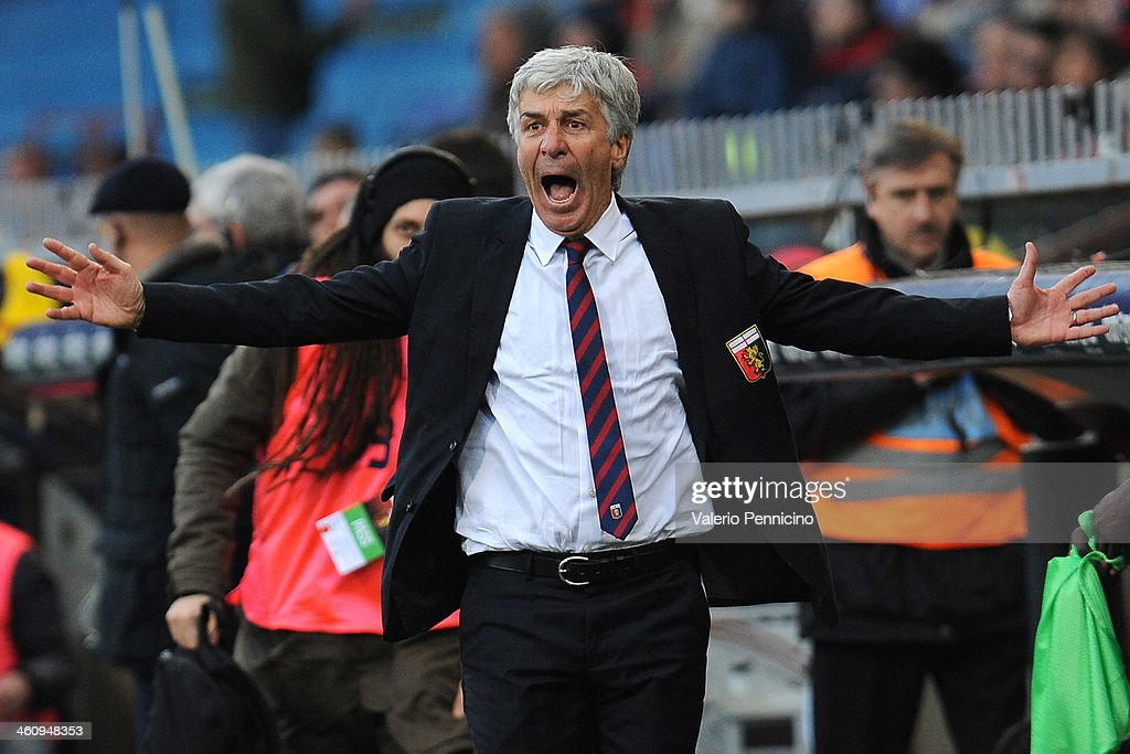 Genoa CFC head coach <a gi-track='captionPersonalityLinkClicked' href=/galleries/search?phrase=Gian+Piero+Gasperini&family=editorial&specificpeople=4667555 ng-click='$event.stopPropagation()'>Gian Piero Gasperini</a> reacts during the Serie A match between Genoa CFC and US Sassuolo Calcio at Stadio Luigi Ferraris on January 6, 2014 in Genoa, Italy.