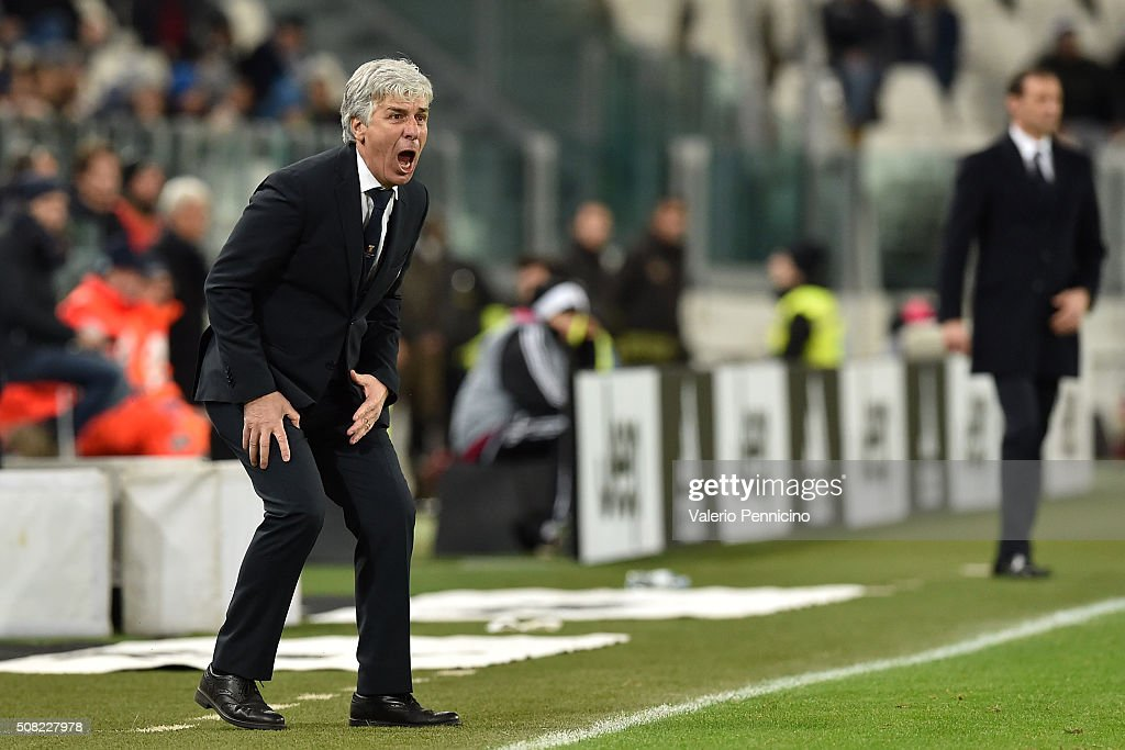 Genoa CFC head coach <a gi-track='captionPersonalityLinkClicked' href=/galleries/search?phrase=Gian+Piero+Gasperini&family=editorial&specificpeople=4667555 ng-click='$event.stopPropagation()'>Gian Piero Gasperini</a> reacts during the Serie A match between Juventus FC and Genoa CFC at Juventus Arena on February 3, 2016 in Turin, Italy.