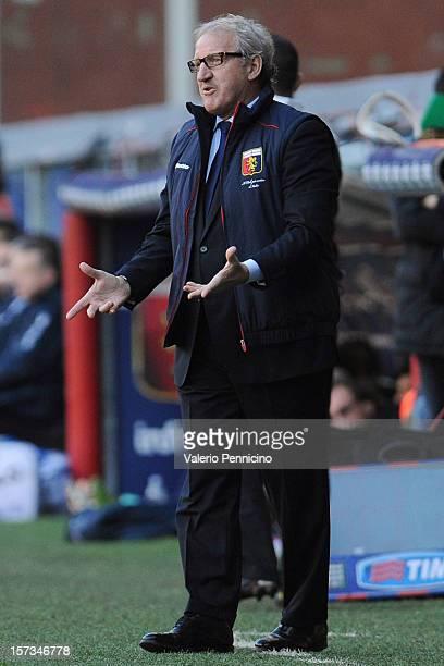 Genoa CFC head coach Luigi Del Neri reacts during the Serie A match between Genoa CFC and AC Chievo Verona at Stadio Luigi Ferraris on December 2...