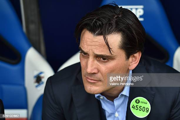 Genoa CFC head coach Vincenzo Montella looks on during the Serie A match between UC Sampdoria and Genoa CFC at Stadio Luigi Ferraris on May 8 2016 in...