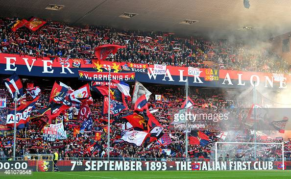 Genoa fans cheer on their team during the Serie A match between Genoa CFC and Atalanta BC at Stadio Luigi Ferraris on January 6 2015 in Genoa Italy