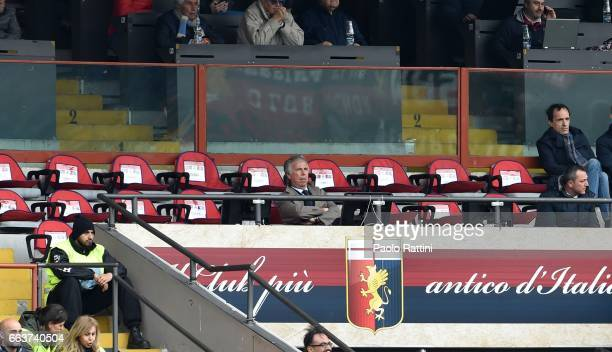 Genoa President Enrico Preziosi in tribune during the Serie A match between Genoa CFC and Atalanta BC at Stadio Luigi Ferraris on April 2 2017 in...