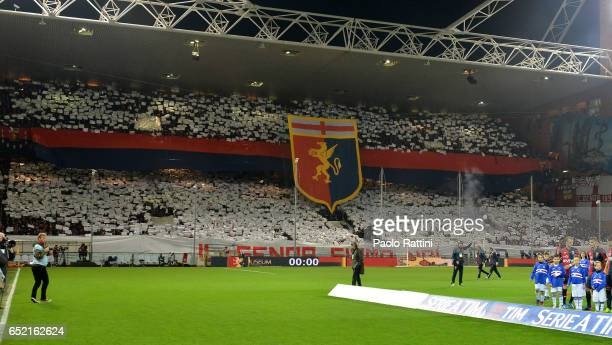 Genoa supporters during the Serie A match between Genoa CFC and UC Sampdoria at Stadio Luigi Ferraris on March 11 2017 in Genoa Italy