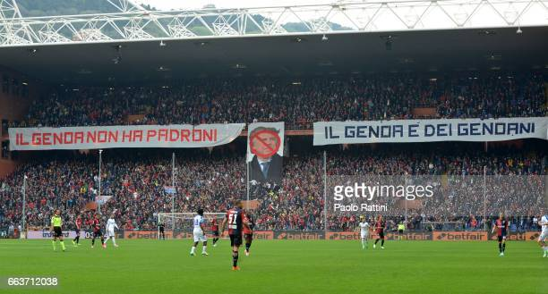Genoa supporters of Gradinata Nord protest against President Enrico Preziosi during the Serie A match between Genoa CFC and Atalanta BC at Stadio...