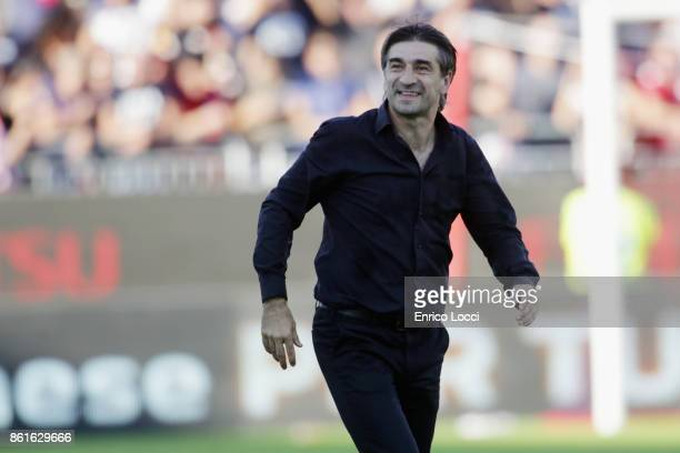 Genoa's coach Ivan Juric celebrates a victory during the Serie A match between Cagliari Calcio and Genoa CFC at Stadio Sant'Elia on October 15 2017...