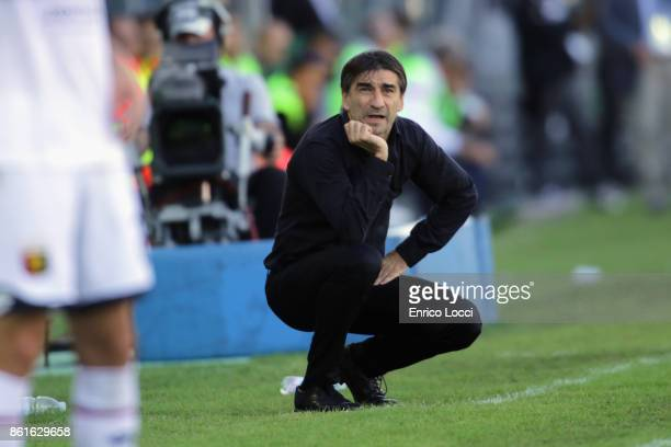 Genoa's coach Ivan Juric looks on during the Serie A match between Cagliari Calcio and Genoa CFC at Stadio Sant'Elia on October 15 2017 in Cagliari...