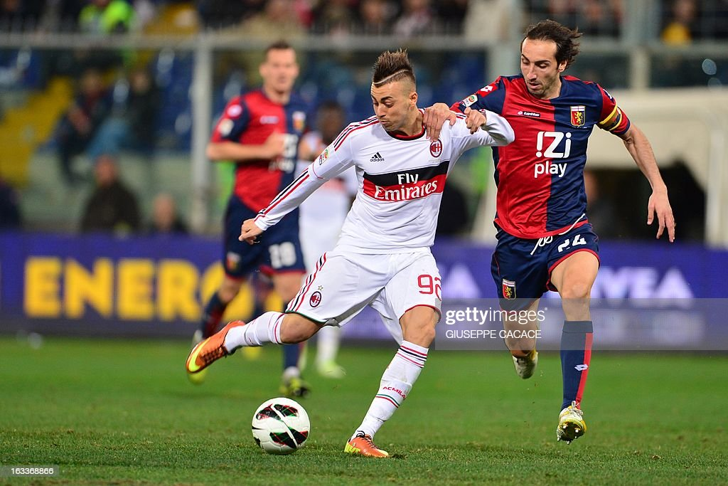 Genoa's defender Emiliano Moretti (R) vies for the ball with AC Milan's forward Stephan El Shaarawy during the Italian championships Serie A football match Genoa vs AC Milan at the Marazzi Stadium in Genova on March 8, 2013.