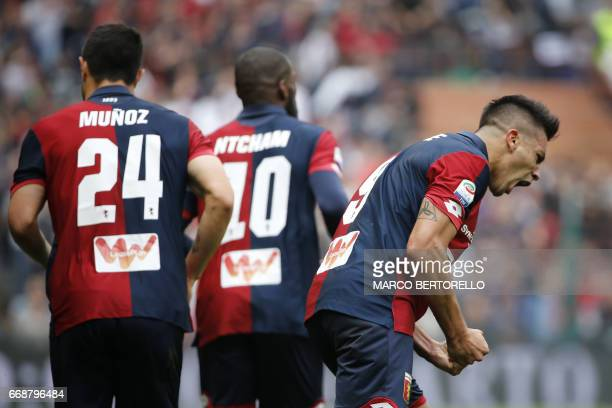 Genoa's forward Giovanni Simeone celebrates after scoring during the Italian Serie A football match Genoa Vs Lazio on April 15 2017 at the 'Luigi...