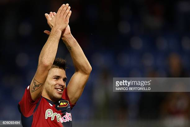 Genoa's forward Giovanni Simeone celebrates at the end of the Italian Serie A football match Genoa Vs Juventus on November 27 2016 at the Luigi...
