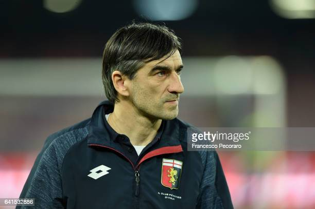 Genoa'u0092s coach Ivan Juric looks on during the Serie A match between SSC Napoli and Genoa CFC at Stadio San Paolo on February 10 2017 in Naples...