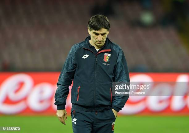 Genoa'u0092s coach Ivan Juric stands disappointed during the Serie A match between SSC Napoli and Genoa CFC at Stadio San Paolo on February 10 2017...