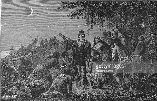 Genoese navigator and explorer Christopher Columbus frightens the Carib natives into assisting him by predicting an eclipse of the moon a god of...
