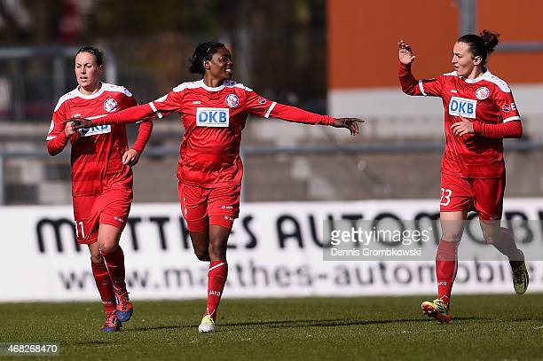 Genoveva Anonma of Turbine Potsdam celebrates as she scores the second goal during the Women's DFB Cup Semi Final match between 1 FFC Frankfurt and...
