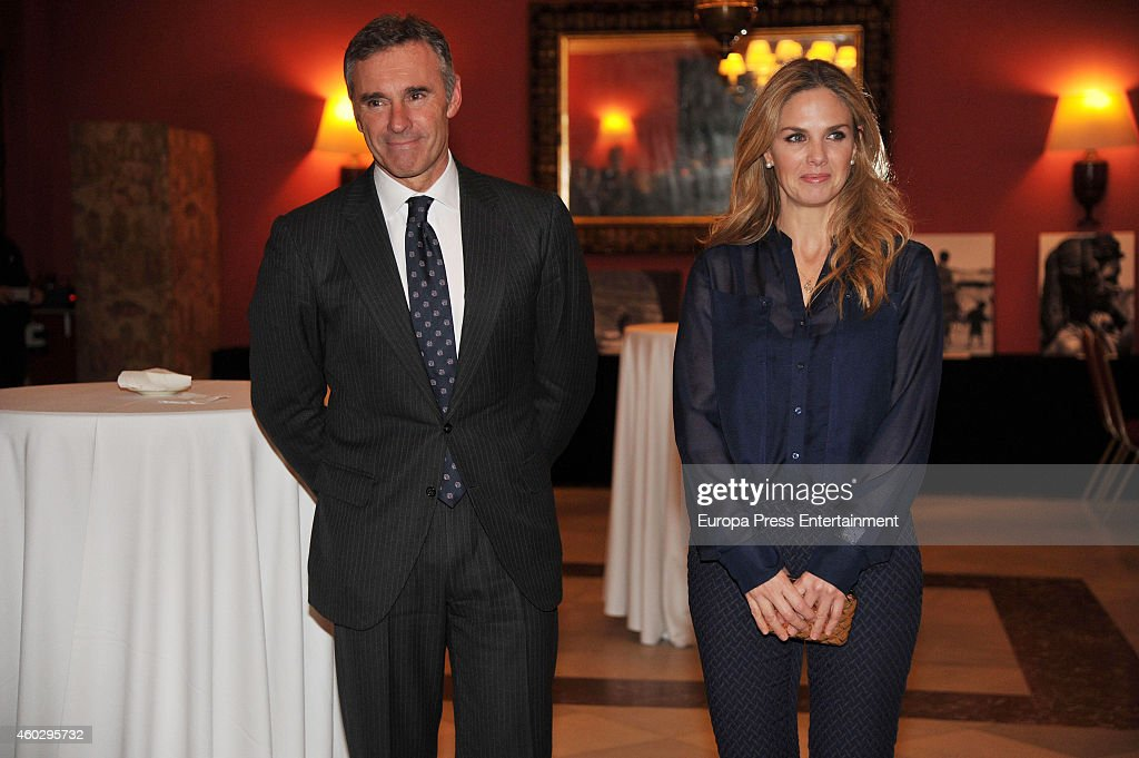 Genoveva Casanova (R) attends her 'No Blink' Humanitarian Photography Exhibition opening at Equestrian Circle Club on December 10, 2014 in Barcelona, Spain.