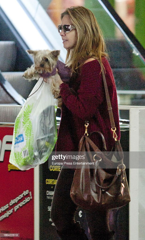 Genoveva Casanova is seen going for shopping with her pet dog on January 30, 2013 in Madrid, Spain.