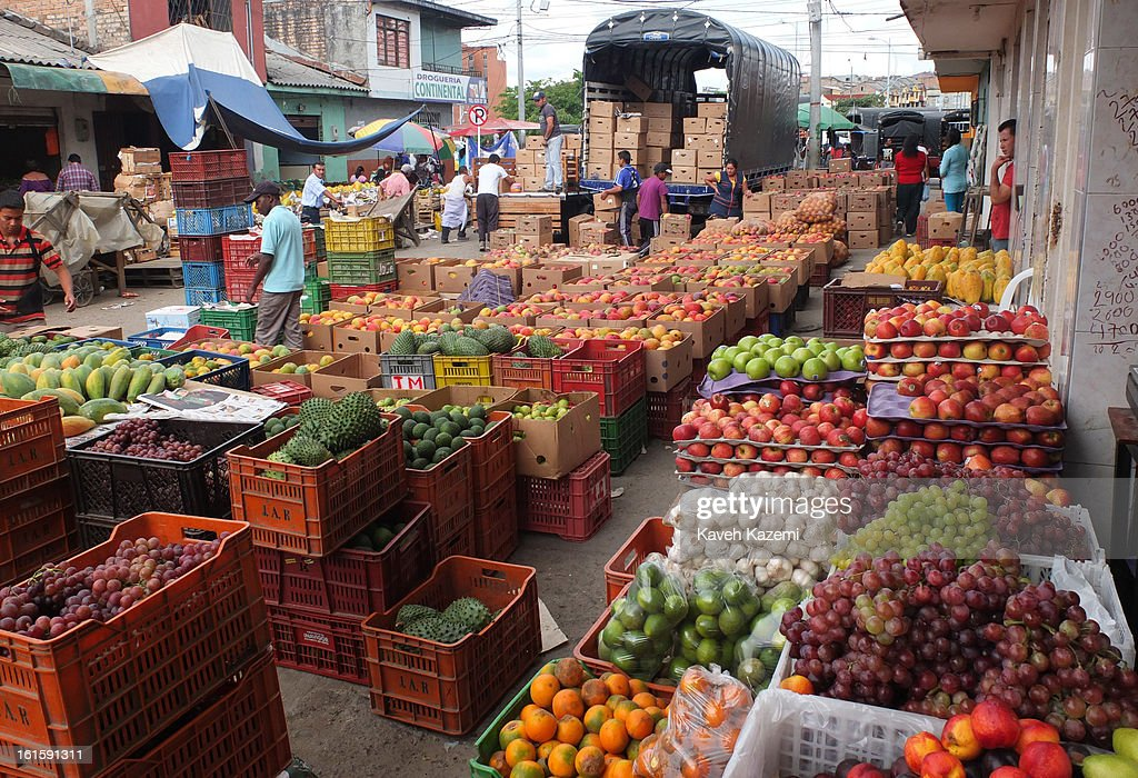 Genral ambience of fruits delivery in Barrio Bolivar day market on January 23, 2013 in Popayan, Colombia.