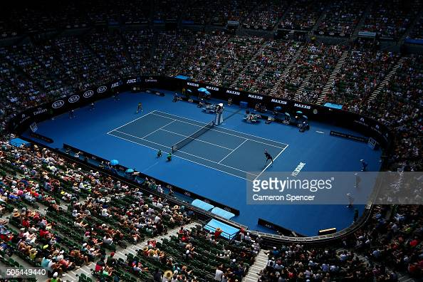 A genral view of Rod Laver Arena as Hyeon Chung of Korea serves in his first round match against Novak Djokovic of Serbia during day one of the 2016...