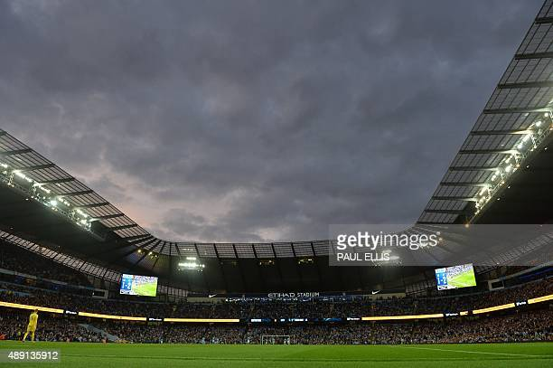 Genral view of the Etihad Stadium as the sun sets during the English Premier League football match between Manchester City and West Ham United at The...