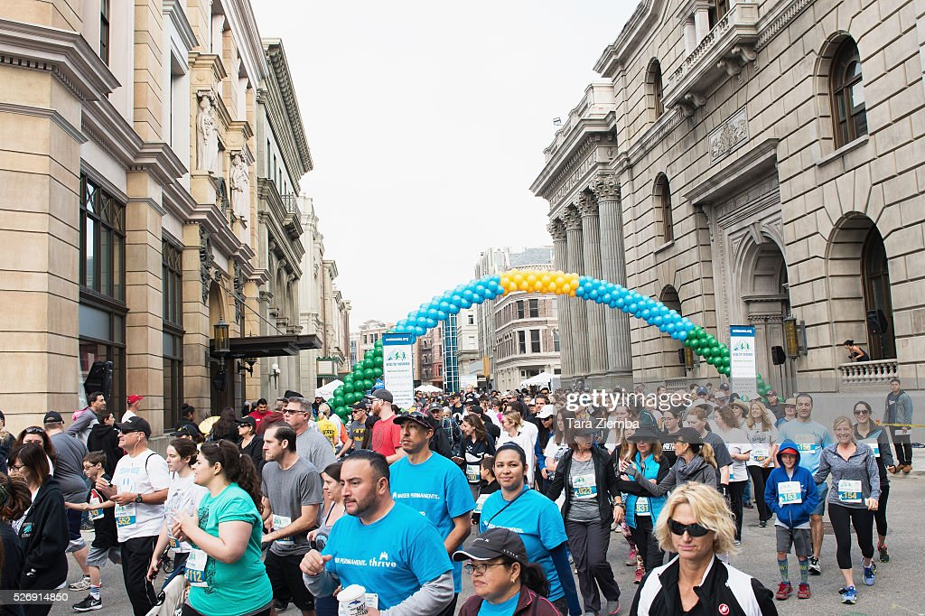 Genreal view of the atmosphere at the Melanoma Research Foundation's Miles for Melanoma 5k Run/Walk at Universal Studios Backlot on May 1, 2016 in Universal City, California.