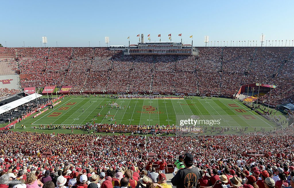 Genreal view of the stadium during the game between the Fresno State Bulldogs and the USC Trojans at Los Angeles Memorial Coliseum on August 30, 2014 in Los Angeles, California.