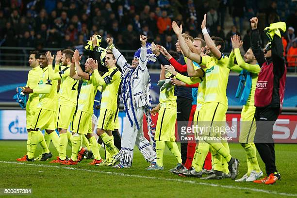 Gent players celebrate after victory in the group H UEFA Champions League match between KAA Gent and Football Club Zenit Saint Petersburg held at...