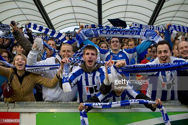 Gent supporters celebrate victory during the Belgian Jupiler Pro League PlayOff Group 1 match between KAA Gent and Club Brugge KV held at the Jules...