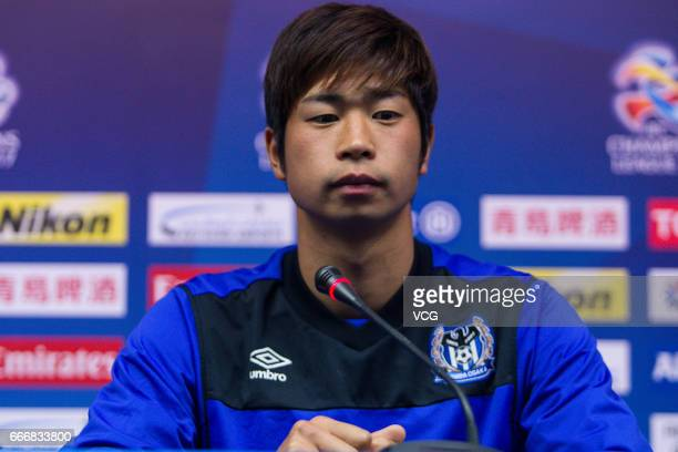 Genta Miura of Gamba Osaka attends a press conference ahead of the AFC Champions League Group E match between Jiangsu Suning and Gamba Osaka at...