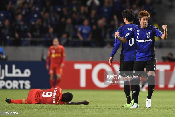 Genta Miura of Gamba Osaka celebrates during the AFC Champions League Group H match between Gamba Osaka v Adelaide United at Suita City Football...