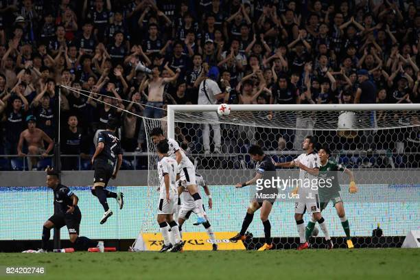 Genta Miura of Gamba Osaka heads the ball to score his side's second goal during the JLeague J1 match between Gamba Osaka and Cerezo Osaka at Suita...