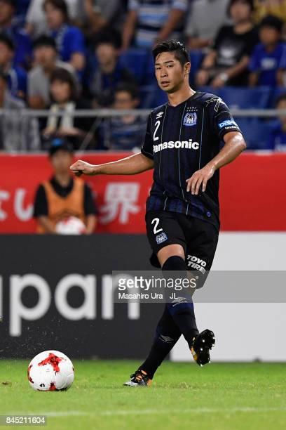 Genta Miura of Gamba Osaka in action during the JLeague J1 match between Gamba Osaka and Vissel Kobe at Suita City Football Stadium on September 9...