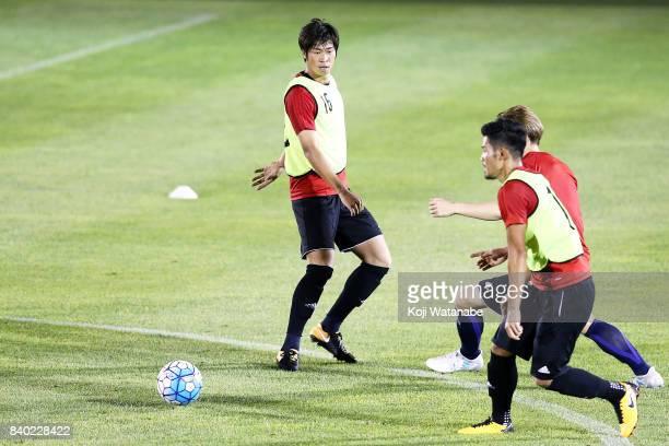 Genta Miura of Japan in action during a Japan training session at Saitama Stadium Sub Ground on August 28 2017 in Saitama Japan