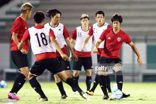 Genta Miura of Japan in action during a training session ahead of the FIFA World Cup qualifier against Saudi Arabia at AlAhli Saudi Sports Club on...
