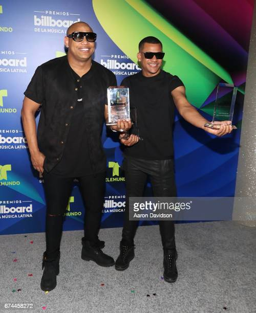 Gente De Zona poses backstage during the Billboard Latin Music Awards at Watsco Center on April 27 2017 in Coral Gables Florida