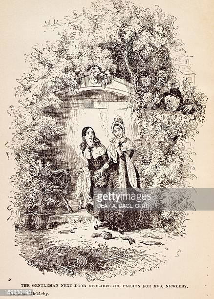 A gentleman by the door declares his love for Mrs Nickleby scene from the novel Nicholas Nickleby by Charles Dickens illustration by Hablot Knight...