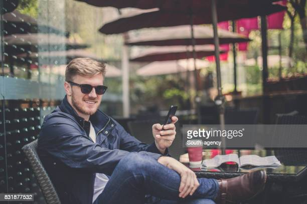 Gentleman enjoying alone in cafe