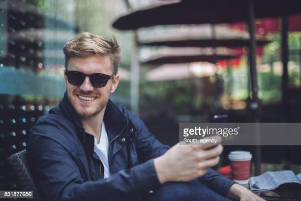 Gentleman enjoying in cafe