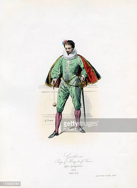 Gentleman from the reign of Henry III of France from engraving by Hippolyte Pauquet after Gaiguières HIII 19 September 1551 – 2 August 1589 Plate XLII