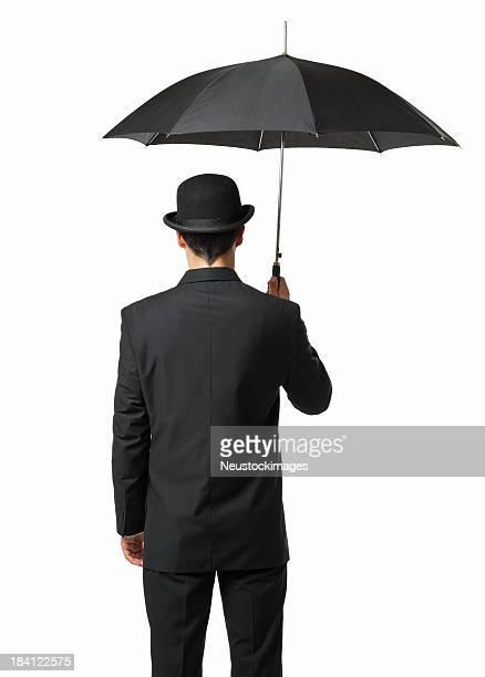 Gentleman Holding an Umbrella - Isolated